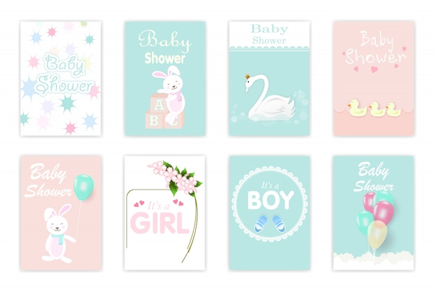 Set kaarten van de baby shower