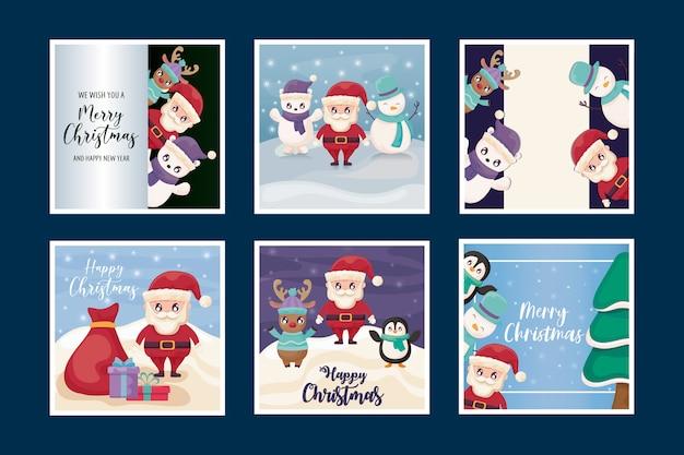 Set kaarten van vrolijk kerstfeest