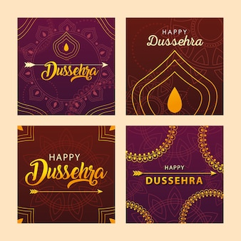 Set kaarten voor indiase festival dussehra-viering