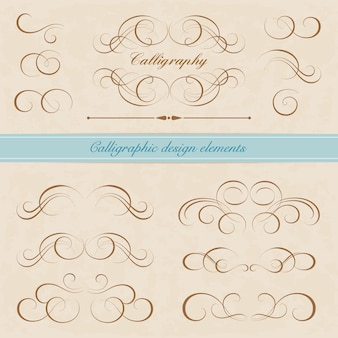 Set kalligrafische ontwerpelementen. pagina-decoratie