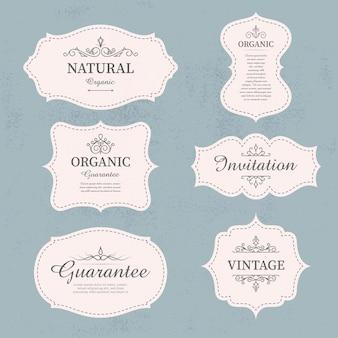 Set kalligrafische vintage labels en frames ontwerpelementen