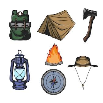 Set kampeeruitrusting elementen en vector