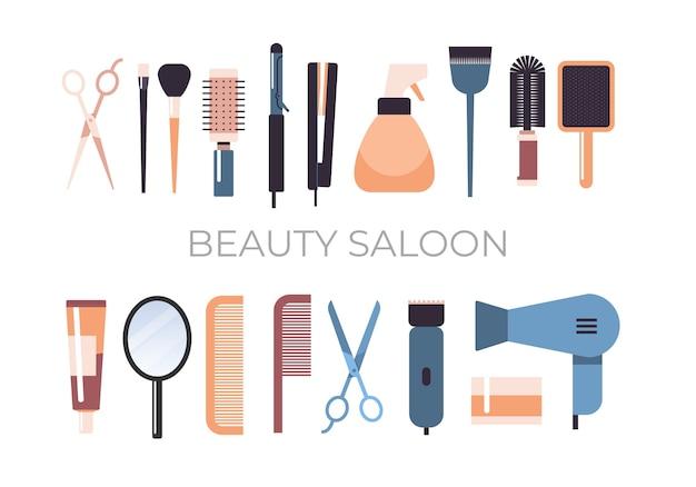 Set kapper gereedschappen en accessoires collectie schoonheidssalon concept horizontale vectorillustratie