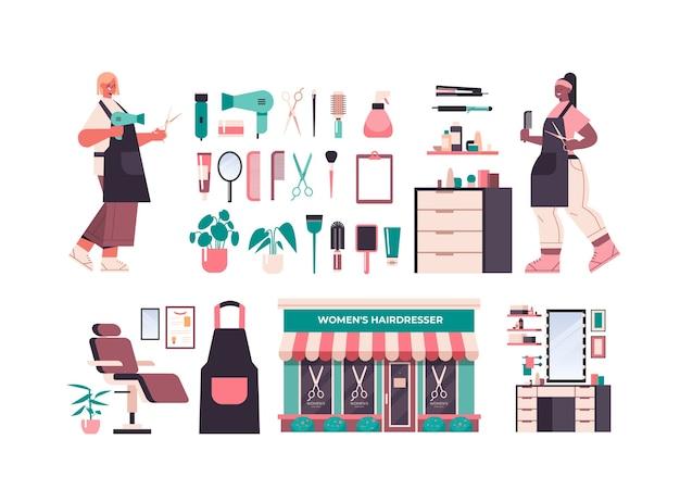 Set kappers tools en accessoires iconen collectie met professionele werknemers in uniform schoonheidssalon concept horizontale volledige lengte geïsoleerde vector illustratie