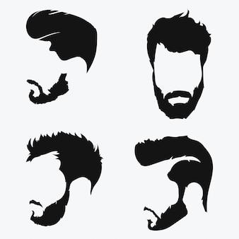 Set kapsels voor mannen. verzameling van zwarte silhouetten van kapsels en baarden.
