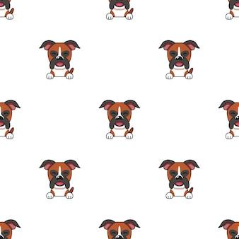 Set karakter bokser hond gezichten met verschillende emoties voor design.