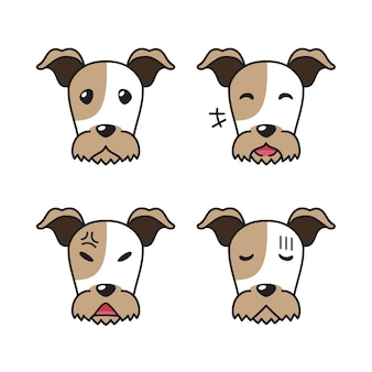 Set karakter draad fox terrier hond gezichten met verschillende emoties