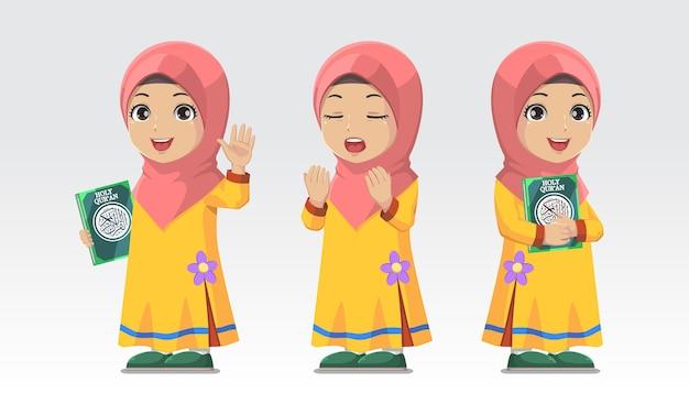 Set karakter moslim meisje hijab heilige koran houden en bidden
