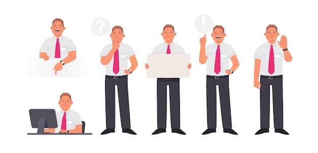 Set karaktermanager of werknemer van het bedrijf in verschillende acties. glimlachende man op desktop, denkt, een idee en toont een gebaar stop. vectorillustratie in vlakke stijl