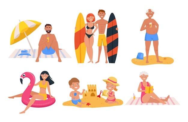 Set karakters ontspannen op zee en op het strand