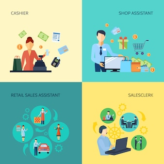 Set kassier verkoopmedewerker winkelbediende en verkoopmedewerker in de detailhandel