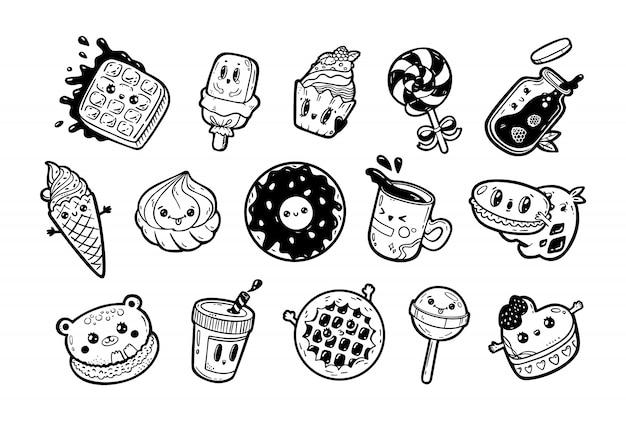 Set kawaii cartoon stijl doodle sweety karakters. verzameling van emoticon gezicht pictogrammen snoepwinkel. hand getekend zwarte inkt illustratie geïsoleerd op een witte achtergrond.