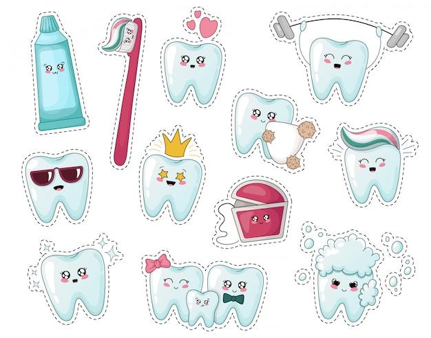 Set kawaii kinderstickers met tand, tandpasta, tandenborstel