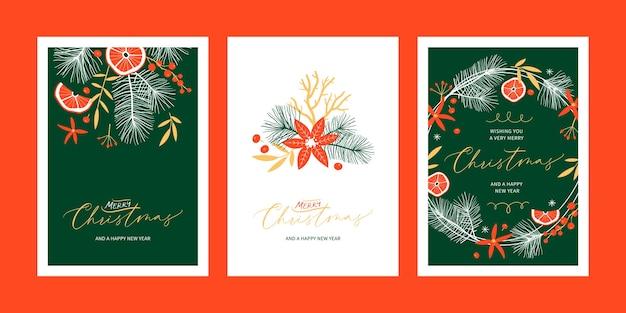 Set kerst bloemen wenskaartsjablonen met handgeschreven kalligrafie. trendy vintage stijl.