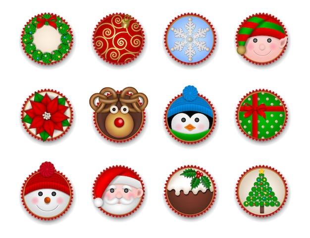 Set kerst cupcakes bovenaanzicht