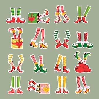 Set kerst elf voeten