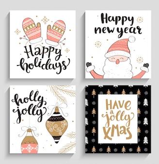 Set kerst en nieuwe jaar kaarten.