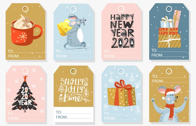 Set kerst en nieuwjaar cadeau tags.