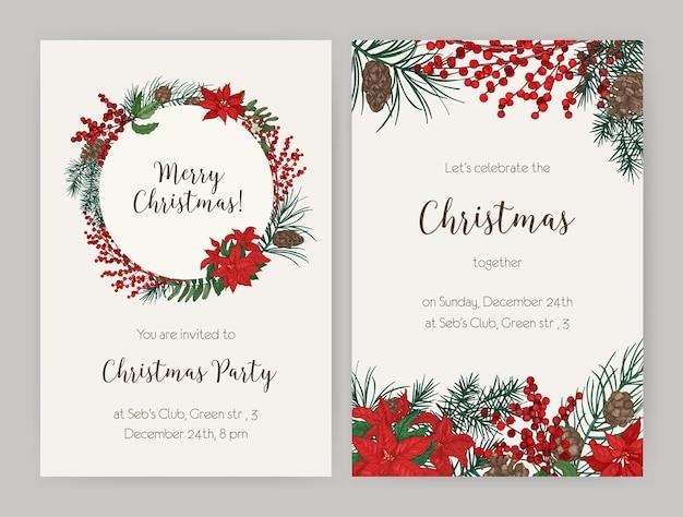 Set kerst flyer of uitnodiging voor feest sjablonen versierd met naaldboomtakken en kegels, hulstbladeren en bessen, poinsettia