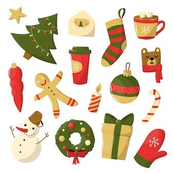 Set kerst handgetekende elementen voor stickers
