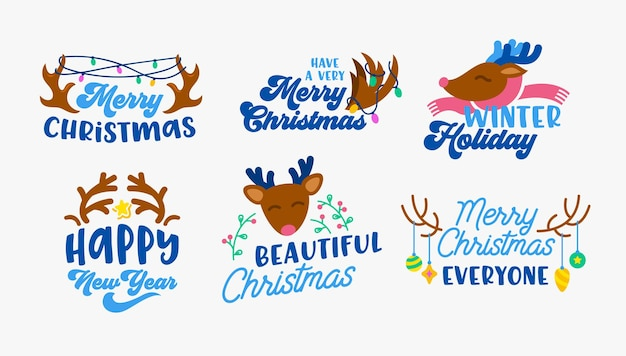 Set kerst iconen of ontwerpelementen voor wenskaart met herten hoorns en decoratie kerstballen en garland. xmas wintervakantie gefeliciteerd met rendieren, wensen. cartoon vectorillustratie