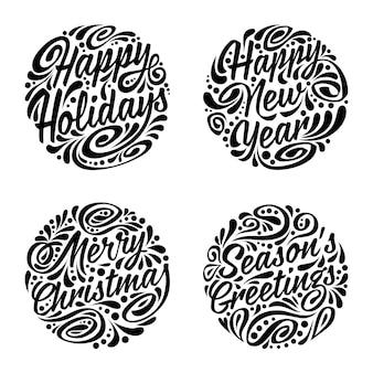 Set kerst kalligrafische elementen.