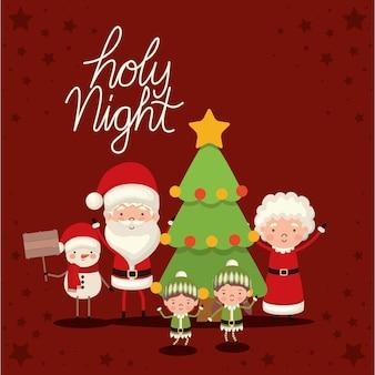 Set kerst karakters en heilige nacht belettering op rode achtergrond.