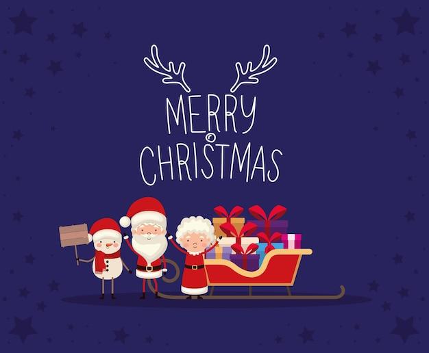 Set kerst karakters en vrolijk kerstfeest belettering op blauwe achtergrond.