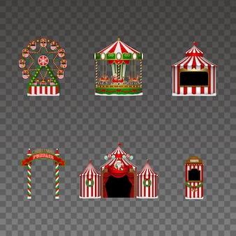 Set kerst kermis elementen kerst luna park geïsoleerde elementen