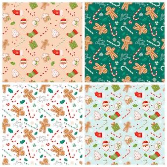 Set kerst naadloze patronen met peperkoekkoekjes en lollies.