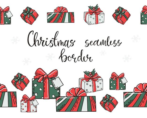 Set kerst naadloze randen met geschenkdozen