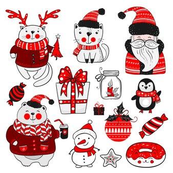 Set kerst- of nieuwjaarsstickers. collectie van vintage elementen op witte achtergrond. vrolijke feestdagen.