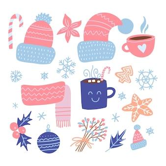 Set kerst ontwerpelementen. gebreide mutsen, peperkoek, maretak, cadeaus, kop warme chocolademelk, kerstballen. fijne feestdagen platte objecten. handgetekende platte illustratie.