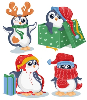 Set kerst pinguins