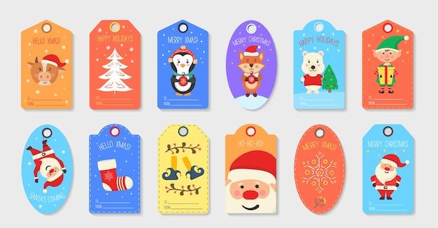 Set kerst tag schattig. verzameling van cadeau-tags en kaarten prettige kerstdagen en gelukkig nieuwjaar.