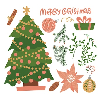 Set kerst winter bloemen elementen constructor voor uw ontwerp kerstboom met takken twijgen en...