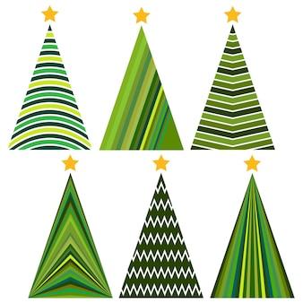 Set kerstbomen. geïsoleerde vectorillustratie voor prettige kerstdagen en gelukkig nieuwjaar.