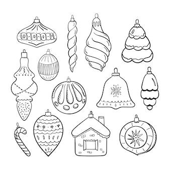 Set kerstboom speelgoed geïsoleerd op wit