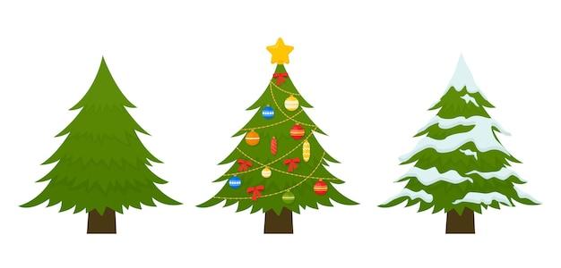 Set kerstboom versierd met kleurrijke ballen