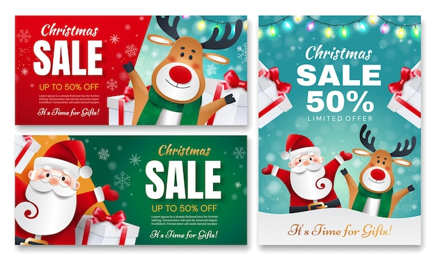 Set kerstcadeau flyers. de kerstman en herten met geschenken kondigen vakantiekortingen aan.