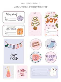 Set kerstcadeau-tag, label, stickers met traditionele winterelementen in hygge-stijl. gezellig winterseizoen.