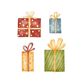 Set kerstcadeaus. aquarel illustraties Premium Vector