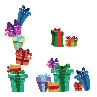 Set kerstcadeaus in dozen. verzameling van gekleurde verpakte geschenken.