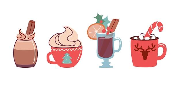 Set kerstdrankjes cacao met marshmallows en warme chocolademelk en glühwein