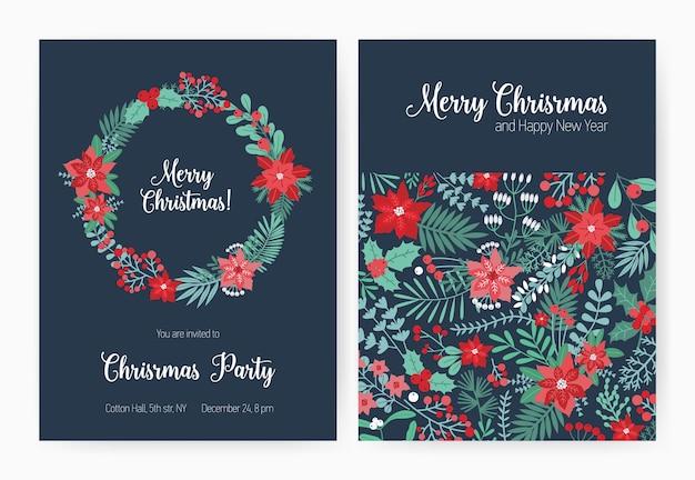 Set kerstfeest uitnodiging, evenement aankondiging flyer of wenskaart