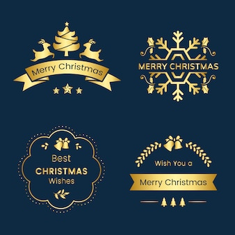 Set kerstgroeten badges
