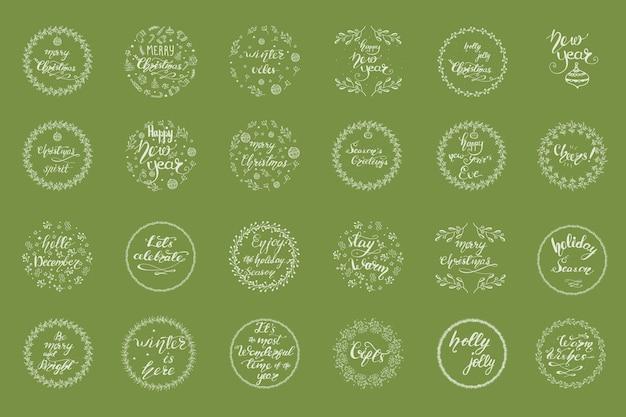 Set kerstgroetontwerpen met belettering. vector illustratie.
