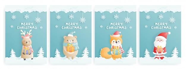 Set kerstkaart met karakter in papier gesneden stijl