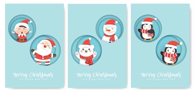 Set kerstkaarten en nieuwjaarswenskaarten met een schattige kerstman en vrienden.