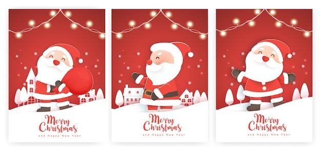 Set kerstkaarten en nieuwjaarswenskaarten met een schattige kerstman in het sneeuwdorp.